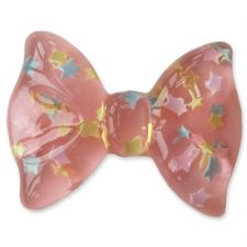 35mm BABY PINK Clear Star Flatback Bow Cabochon